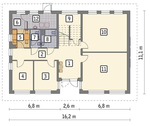 Rzut parteru POW. 139,3 m²