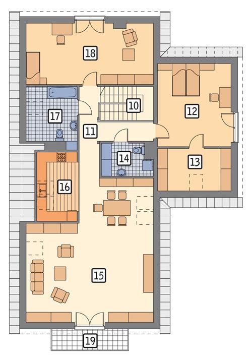 Rzut poddasza POW. 163,1 m²