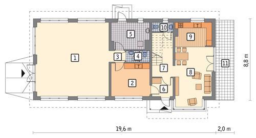 Rzut parteru POW. 144,1 m²