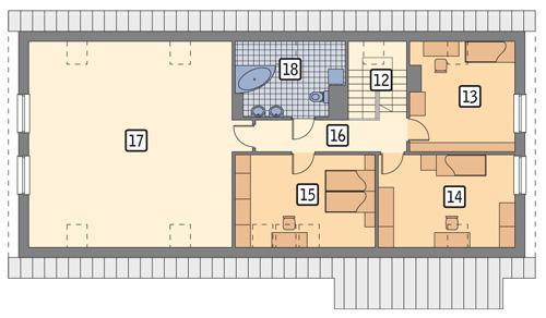 Rzut poddasza POW. 143,5 m²