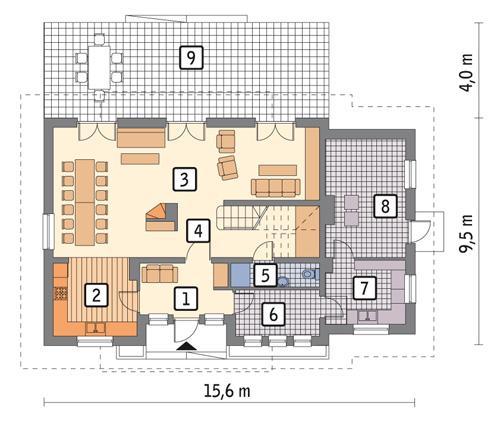 Rzut parteru POW. 111,5 m²