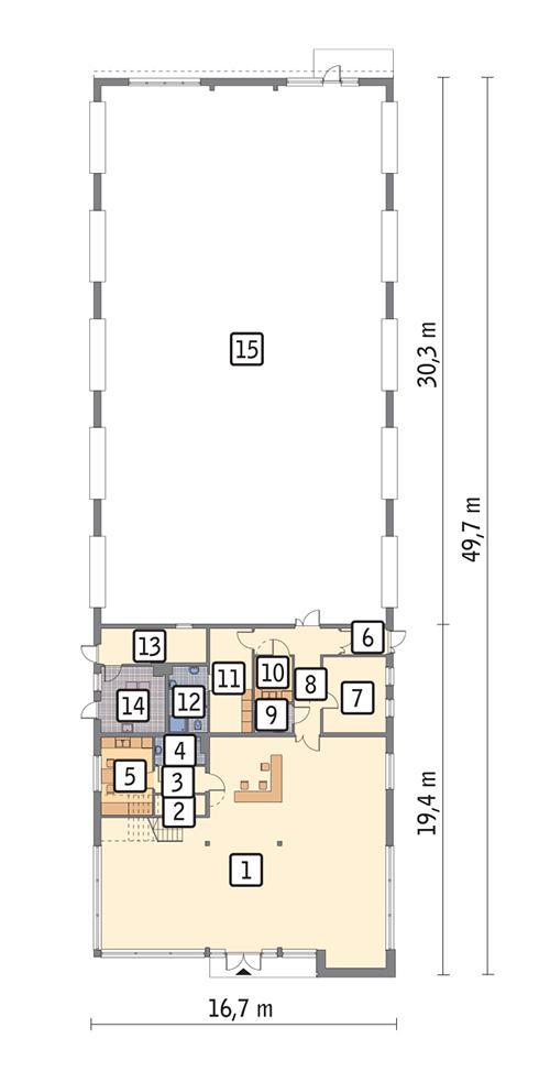 Rzut parteru POW. 733,5 m²