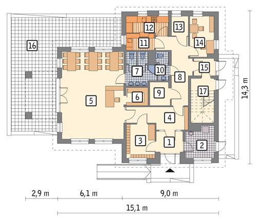 Rzut parteru POW. 139,9 m²