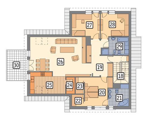Rzut poddasza POW. 156,4 m²