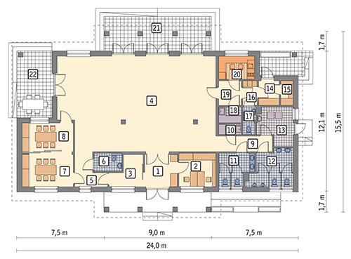 Rzut parteru POW. 217,3 m²
