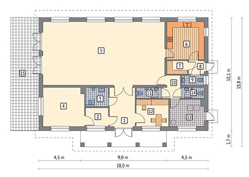 Rzut parteru POW. 177,7 m²