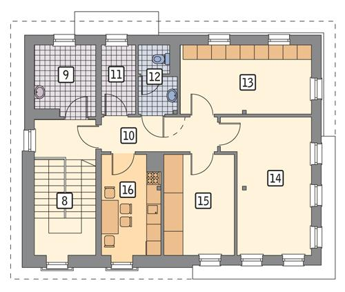 Rzut piętra POW. 92,0 m²
