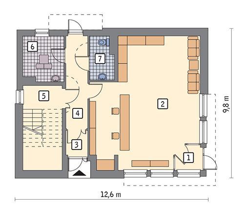 Rzut parteru POW. 91,6 m²