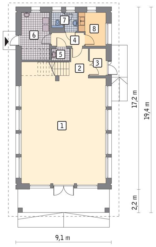 Rzut parteru POW. 122,0 m²