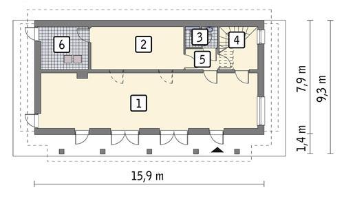 Rzut parteru POW. 96,8 m²