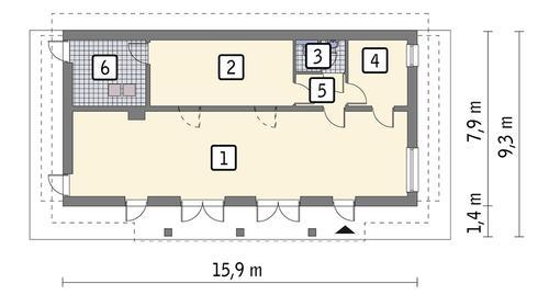 Rzut parteru POW. 99,3 m²