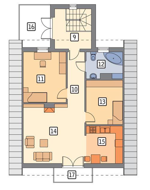 Rzut poddasza POW. 90,7 m²