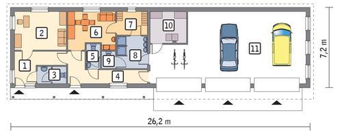 Rzut parteru POW. 148,8 m²