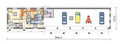 Rzut parteru POW. 201,8 m²