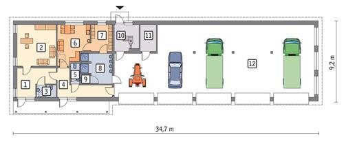 Rzut parteru POW. 264,7 m²