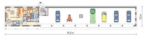 Rzut parteru POW. 281,3 m²