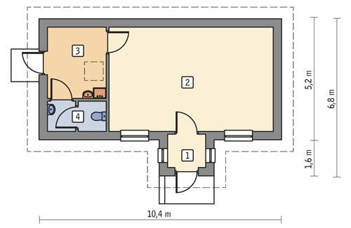 Rzut parteru POW. 44,0 m²