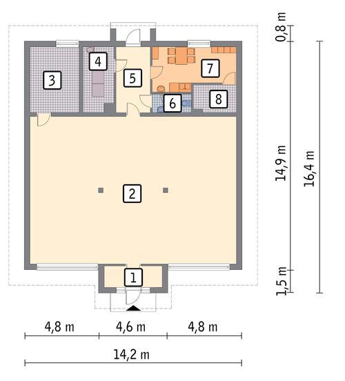 Rzut parteru POW. 182,7 m²