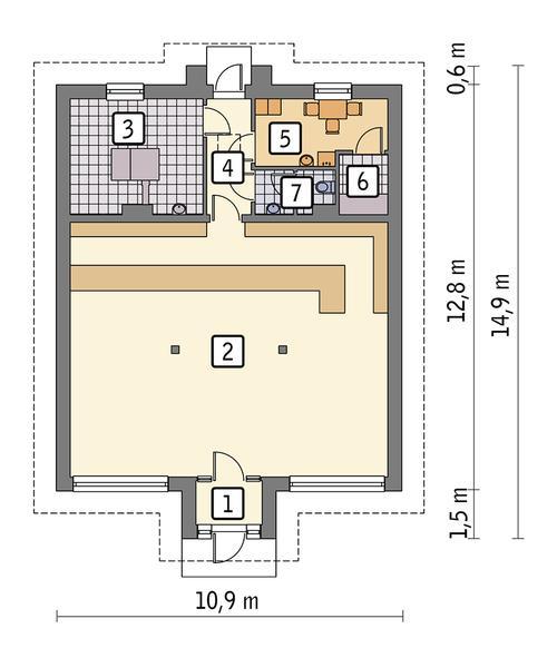 Rzut parteru POW. 115,1 m²