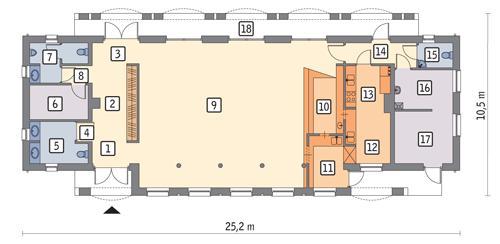 Rzut parteru POW. 174,4 m²