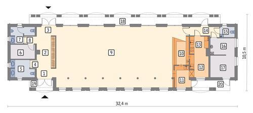 Rzut parteru POW. 234,6 m²