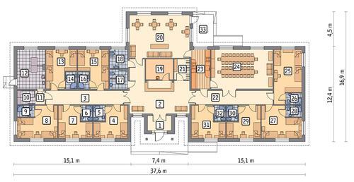 Rzut parteru POW. 404,0 m²