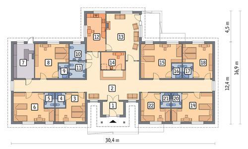 Rzut parteru POW. 328,7 m²