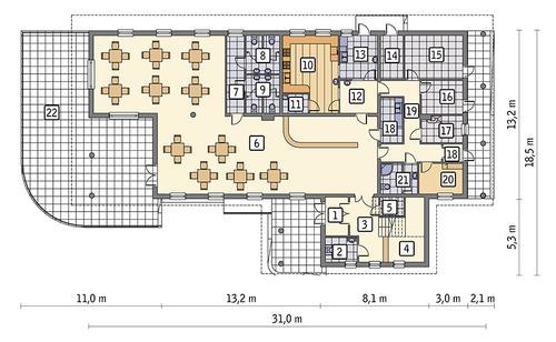 Rzut parteru POW. 337,9 m²