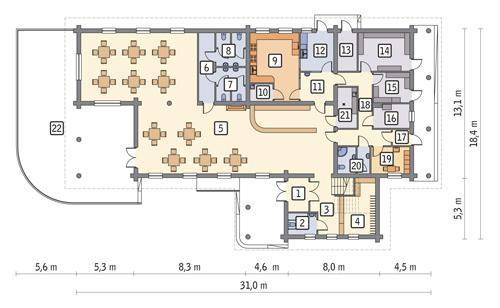 Rzut parteru POW. 334,6 m²