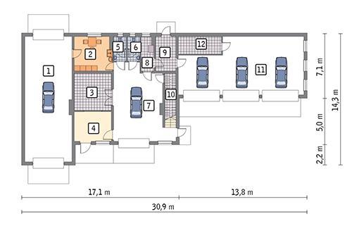 Rzut parteru POW. 263,2 m²