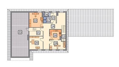 Rzut poddasza POW. 181,7 m²