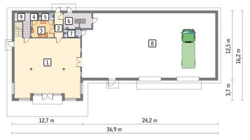 Rzut parteru POW. 440,8 m²