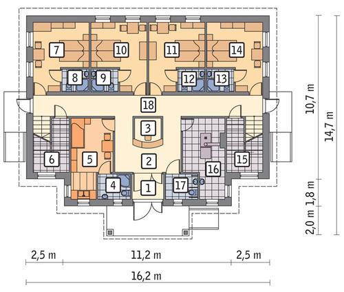 Rzut parteru POW. 153,8 m²