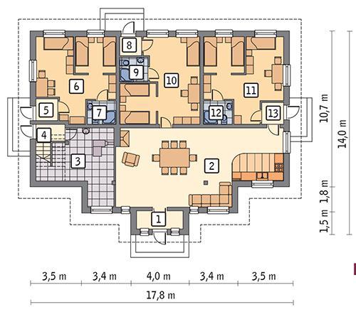 Rzut parteru POW. 173,8 m²