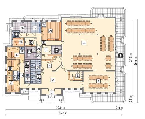 Rzut parteru POW. 714,8 m²