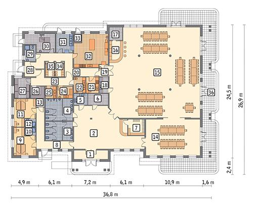 Rzut parteru POW. 711,2 m²
