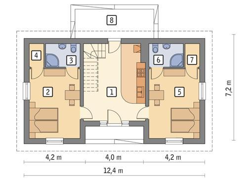 RZUT PARTERU POW. 64,8 m²