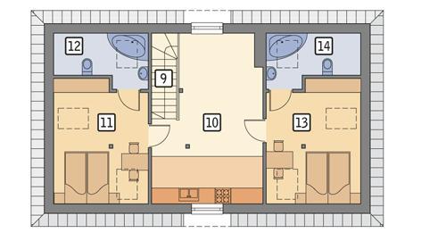 Rzut poddasza POW. 71,4 m²