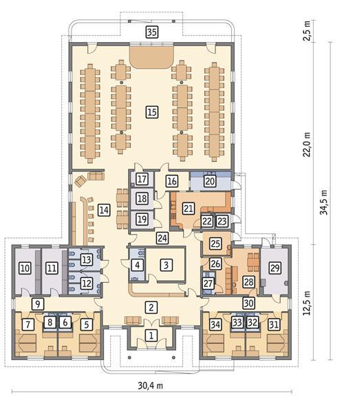 Rzut parteru POW. 653,9 m²