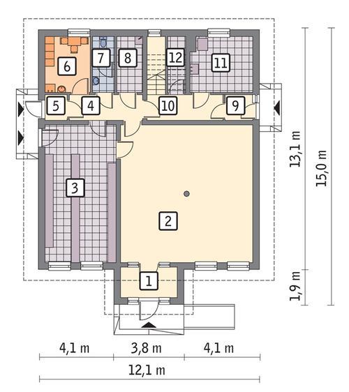 Rzut parteru POW. 132,0 m²