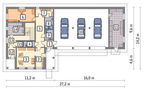 Rzut parteru POW. 242,7 m²