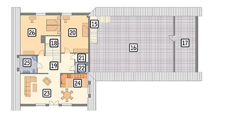 Rzut poddasza POW. 261,5 m²