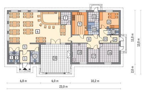 Rzut parteru POW. 187,0 m²
