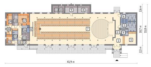 Rzut parteru POW. 412,6 m²
