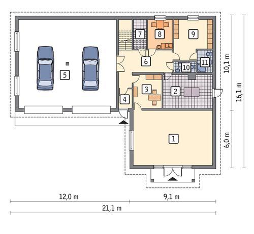 Rzut parteru POW. 224,3 m²