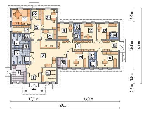 Rzut parteru POW. 236,7 m²