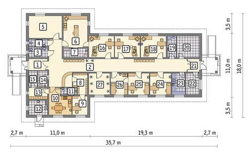 Rzut parteru POW. 332,6 m²