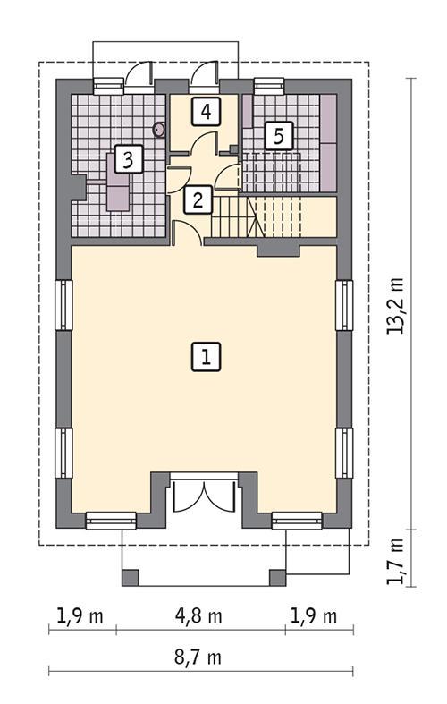 Rzut parteru POW. 82,5 m²