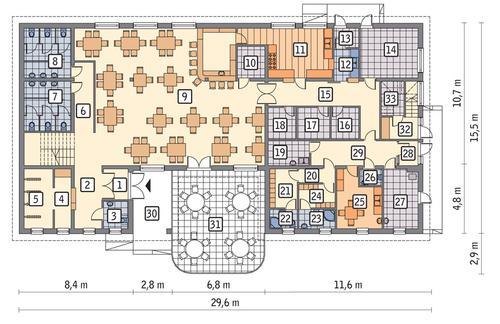 Rzut parteru POW. 328,4 m²