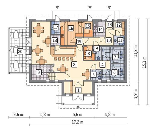 Rzut parteru POW. 159,5 m²